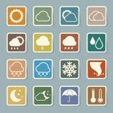 Symbolsuppsättning av väder, illustration Royaltyfria Bilder