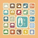 Symbolsuppsättning av väderklistermärken Arkivbilder