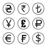 Symbolsuppsättning av valutor av världen Dollar euro, pund, franc, rupier, yen royaltyfri illustrationer