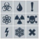 Symbolsuppsättning av varningssymboler Arkivfoton