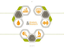 Symbolsuppsättning av vetenskapstecken Plan design Royaltyfri Fotografi