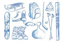 Symbolsuppsättning av vinterobjekt: skridskor skidar, slädar, snowboard vektor illustrationer