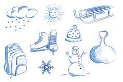 Symbolsuppsättning av vinterobjekt: skridskor slädar, snögubbe, snöflingor royaltyfri illustrationer