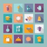 Symbolsuppsättning av ware för kökwarekök - illustration royaltyfri illustrationer
