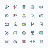 Symbolsuppsättning, färgrika översiktssymboler för lägenhet Royaltyfri Fotografi