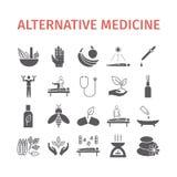 Symbolsuppsättning för alternativ medicin Naturmedicintecken också vektor för coreldrawillustration stock illustrationer