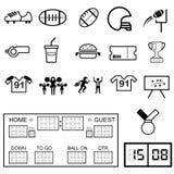 Symbolsuppsättning för amerikansk fotboll vektor illustrationer