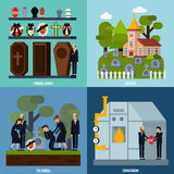 Symbolsuppsättning för begravnings- service vektor illustrationer