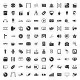 Symbolsuppsättning för bio 100 för rengöringsduk royaltyfri illustrationer