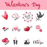Symbolsuppsättning för dag för valentin s Arkivfoto