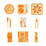 Symbolsuppsättning för datorreparation Fotografering för Bildbyråer
