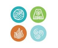 Symbolsuppsättning för fyra beståndsdel på vit bakgrund Arkivfoton