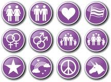 Symbolsuppsättning för glad stolthet royaltyfri illustrationer