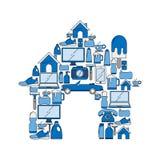 Symbolsuppsättning för hem- anordningar stock illustrationer