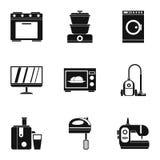 Symbolsuppsättning för hem- elektronik, enkel stil vektor illustrationer
