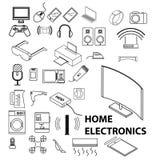 Symbolsuppsättning för hem- elektronik också vektor för coreldrawillustration royaltyfri foto