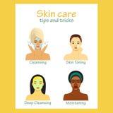 Symbolsuppsättning för infographic skincare Unga kvinnor som visar framsidaomsorg för fyra moment Härliga flickor av olika lopp Arkivbilder