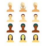 Symbolsuppsättning för infographic skincare Unga kvinnor som visar framsidaomsorg för fyra moment Olika hudsignaler Arkivfoto