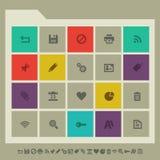 Symbolsuppsättning för kontor 2 Mångfärgad fyrkantlägenhet vektor illustrationer