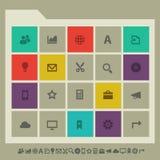 Symbolsuppsättning för kontor 3 Mångfärgad fyrkantlägenhet royaltyfri illustrationer