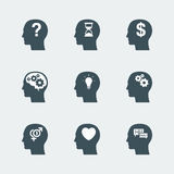 Symbolsuppsättning för mänskligt huvud Arkivfoton