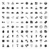 Symbolsuppsättning för mat 100 för rengöringsduk Arkivbilder