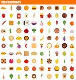 symbolsuppsättning för 100 mat, lägenhetstil stock illustrationer