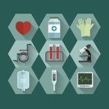 Symbolsuppsättning för medicinsk utrustning Royaltyfri Foto