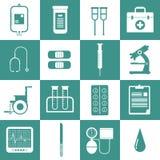 Symbolsuppsättning för medicinsk utrustning Arkivbilder