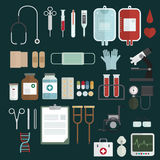 Symbolsuppsättning för medicinsk utrustning Arkivfoton