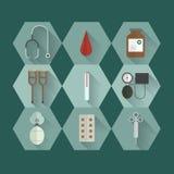 Symbolsuppsättning för medicinsk utrustning Arkivbild