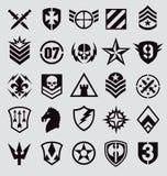 Symbolsuppsättning för militära symboler på grå färger Royaltyfria Bilder
