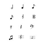 Symbolsuppsättning för musikaliska anmärkningar Arkivfoto
