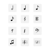 Symbolsuppsättning för musikaliska anmärkningar Arkivbilder