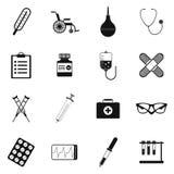 Symbolsuppsättning för plan svart av läkarundersökninghjälpmedel och sjukvårdutrustning Royaltyfria Foton