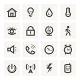 Symbolsuppsättning för säkerhetssystem och husautomation. Arkivbilder