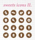 Symbolsuppsättning för sötsaker icons.vector. Fotografering för Bildbyråer