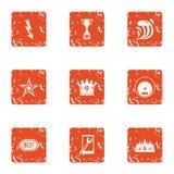 Symbolsuppsättning för snabbt beslut, grungestil royaltyfri illustrationer