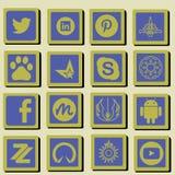 Symbolsuppsättning för social teknologi och massmedia stock illustrationer
