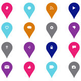 Symbolsuppsättning för social teknologi och massmediai exakt form Arkivfoto