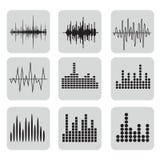 Symbolsuppsättning för solid våg Uppsättning för musiksoundwavesymboler vektor illustrationer