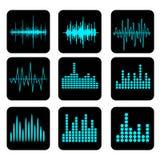 Symbolsuppsättning för solid våg Uppsättning för musiksoundwavesymboler Kvittera ljudsignal a royaltyfri illustrationer