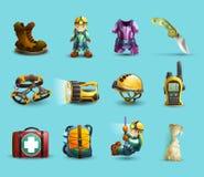 Symbolsuppsättning för speleologi 3d Arkivfoton