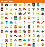 symbolsuppsättning för 100 sport, lägenhetstil stock illustrationer