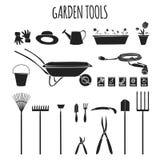 Symbolsuppsättning för trädgårds- hjälpmedel vektor illustrationer