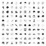 Symbolsuppsättning för väder 100 för rengöringsduk Arkivbild