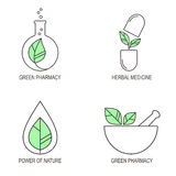 Symbolsuppsättning för växt- medicin stock illustrationer