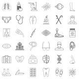 Symbolsuppsättning för vård- institution, översiktsstil Arkivfoto