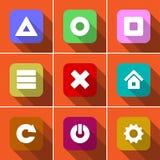 Symbolsuppsättning i plan design Arkivfoton