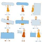 Symbolsuppsättning - man med ett tecken Stock Illustrationer